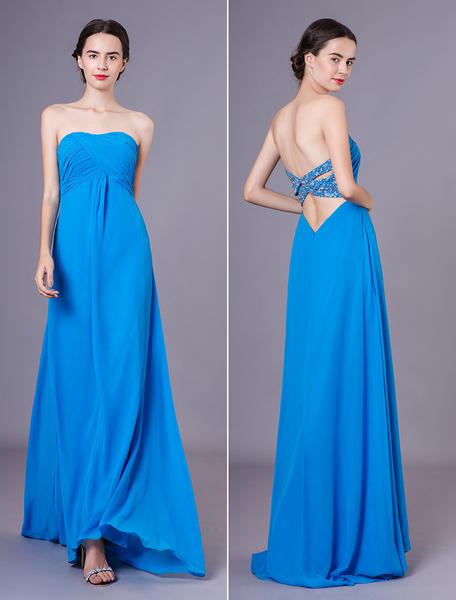 Milanoo Vestidos de fiesta largos Vestidos de gala de chifon Verde azulado con escote en corazon sin mangas con diseño hueco Atractivo