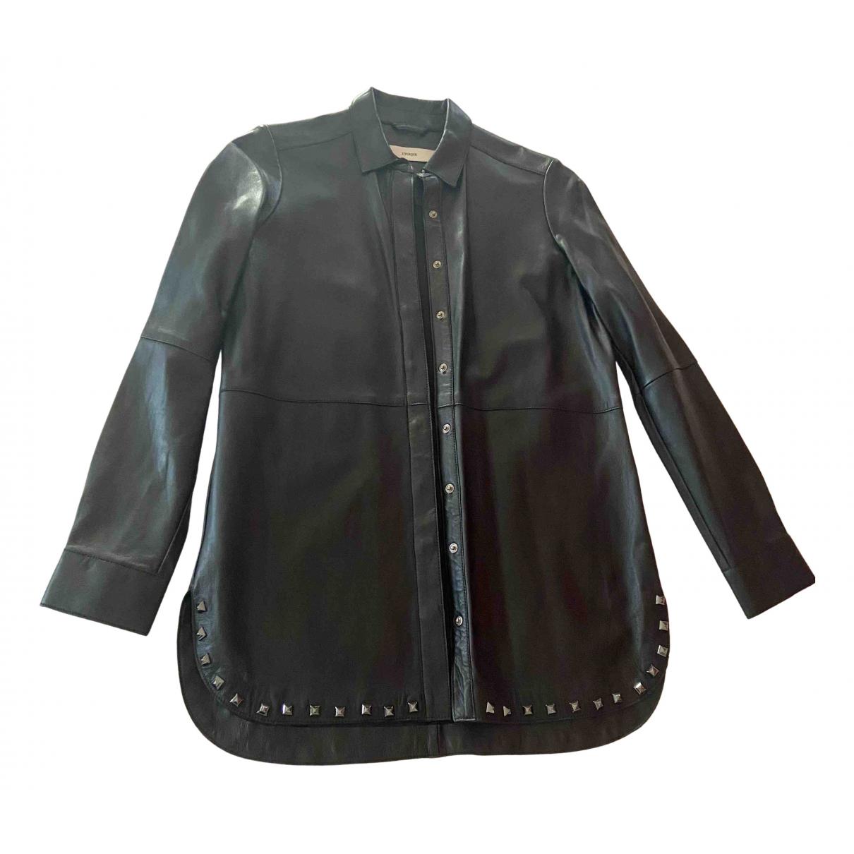 Uterque - Veste   pour femme en cuir - noir