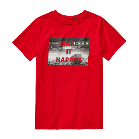 Xersion Little & Big Boys Crew Neck Short Sleeve Graphic T-Shirt, Large (14-16) , Red
