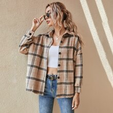 Plaid Print Single Breasted Drop Shoulder Coat