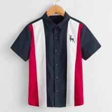 Jungen Hemd mit Eule Muster und Farbblock