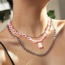 Mehrschichtige Halskette mit Baeren Anhaenger