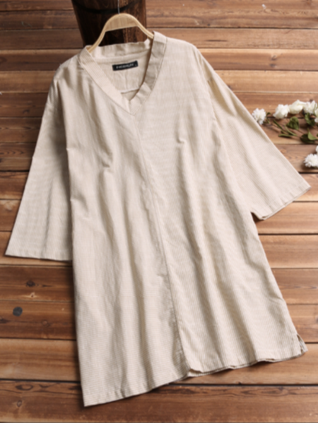 Yoins INCERUN Men Chinese Style Casual Loose Striped V-Neck T-Shirt
