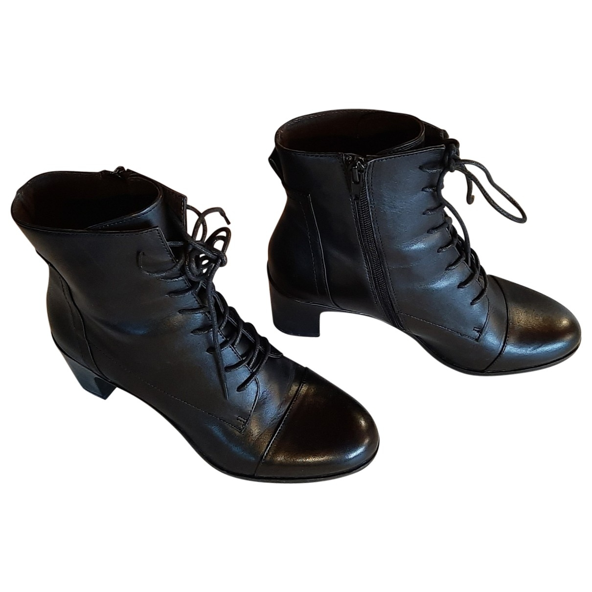 Non Signé / Unsigned \N Black Leather Ankle boots for Women 4 UK