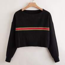 Plus Striped Pattern Drop Shoulder Sweater