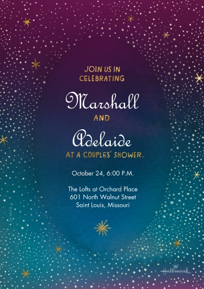 Wedding Shower Invites 5x7 Cards, Premium Cardstock 120lb with Elegant Corners, Card & Stationery -Starry Sky Couples Shower