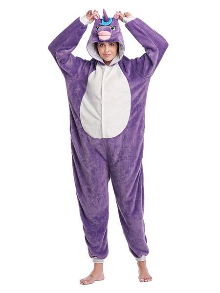 Milanoo Unicorn Onesie Kigurumi Pajamas Purple Flannel Easy Toilet Winter Sleepwear Animal Costume Halloween