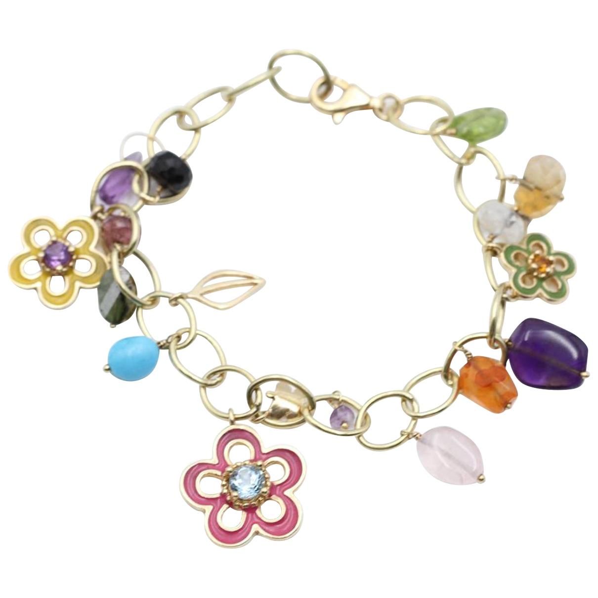 - Bracelet   pour femme en or jaune - multicolore