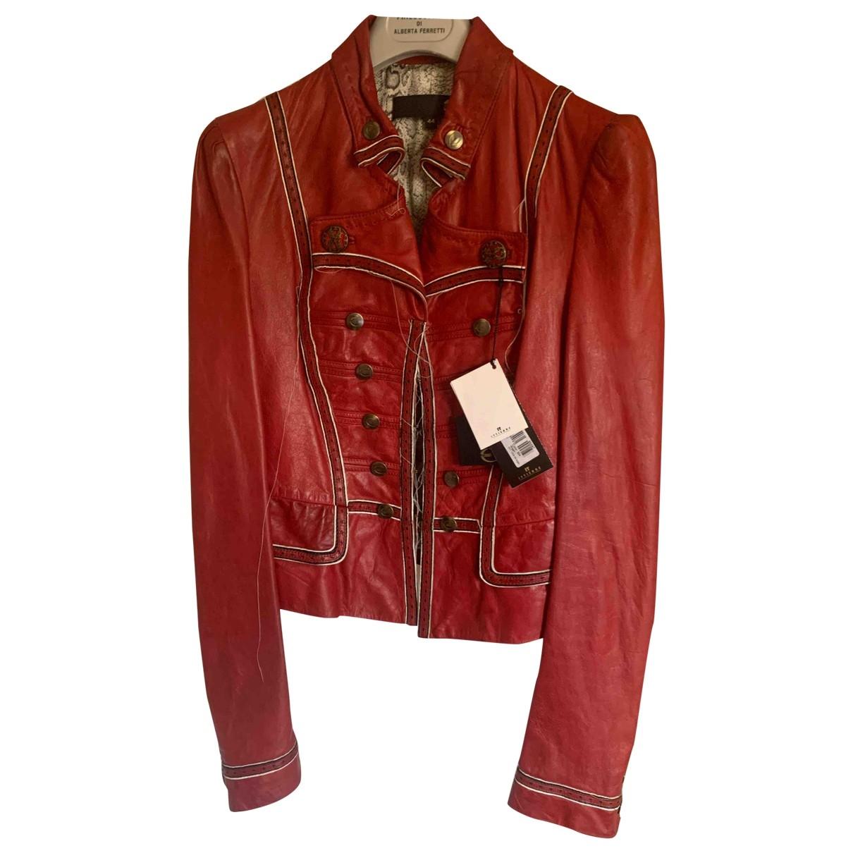Just Cavalli - Blouson   pour femme en cuir - rouge