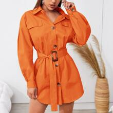 Neon Orange Flap Detail Drop Shoulder Curved Hem Shirt Dress