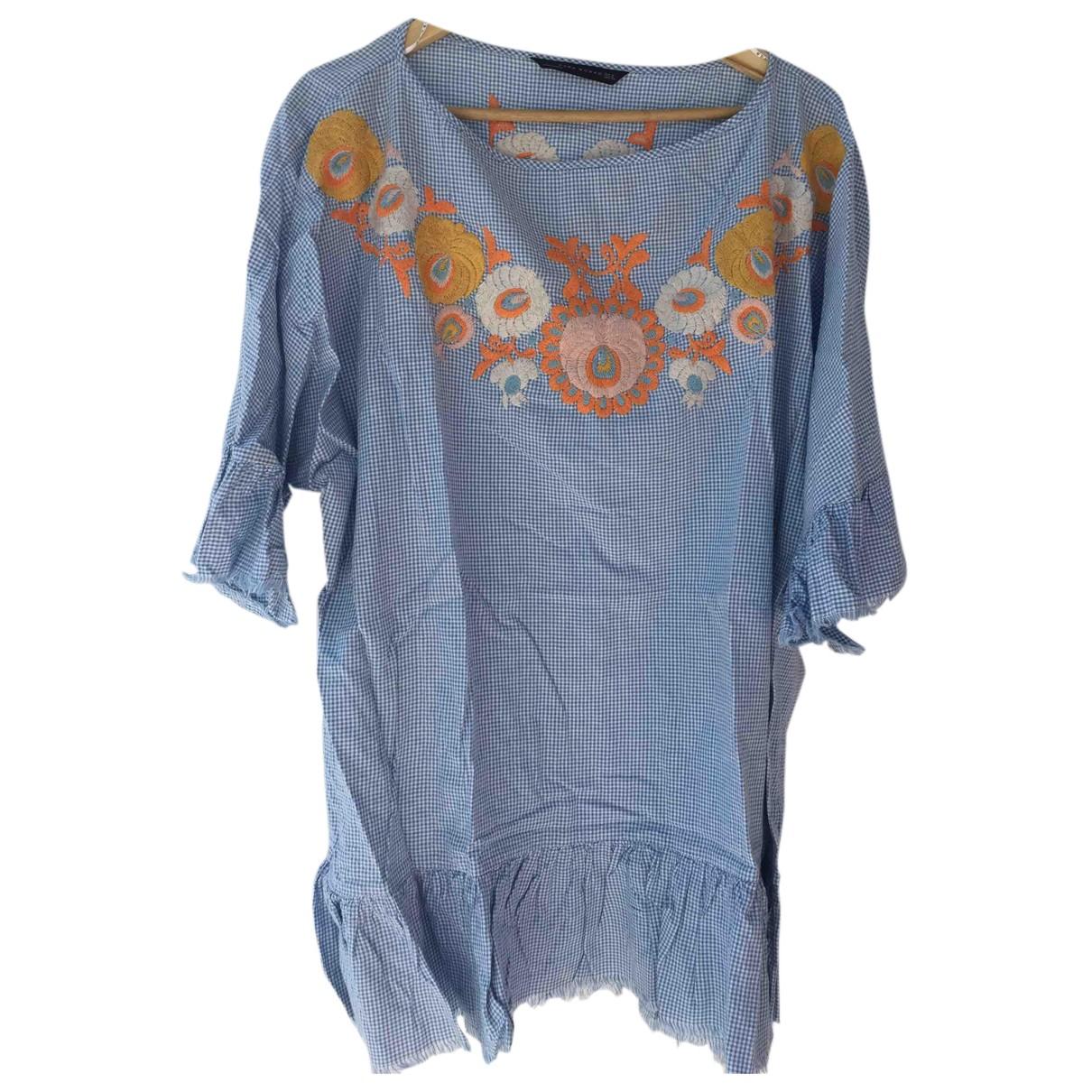 Zara \N Kleid in  Blau Baumwolle