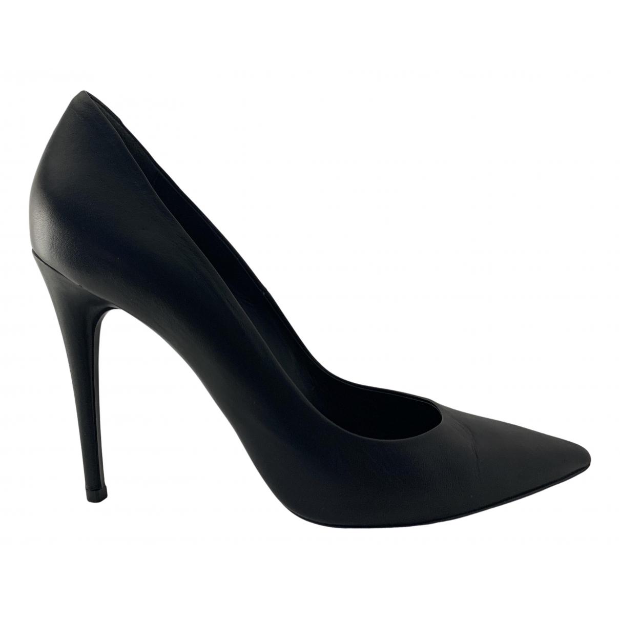 Alexander Wang N Black Leather Heels for Women 38 EU