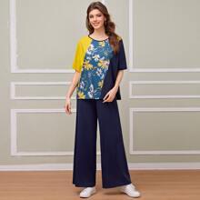 Top mit Blumen Muster und Farbblock & Hose mit breitem Beinschnitt