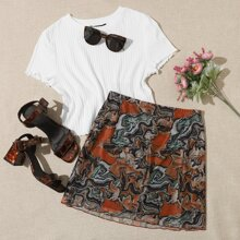 Lettuce Trim Rib-knit Top & Allover Print Mesh Skirt Set