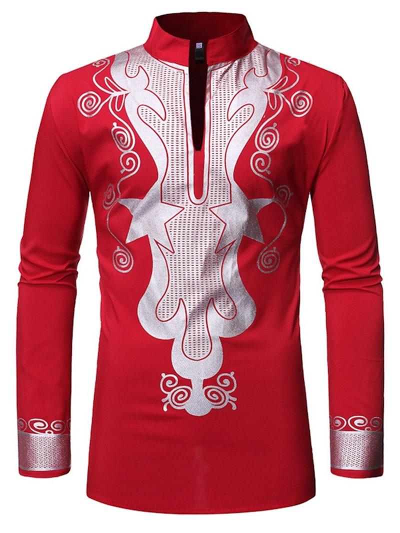 Ericdress African Fashion Dashiki Stand Collar Mens Shirt