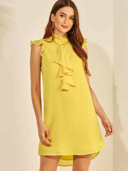 YOINS Yellow Ruffle Trim Stand Collar Chiffon Dress