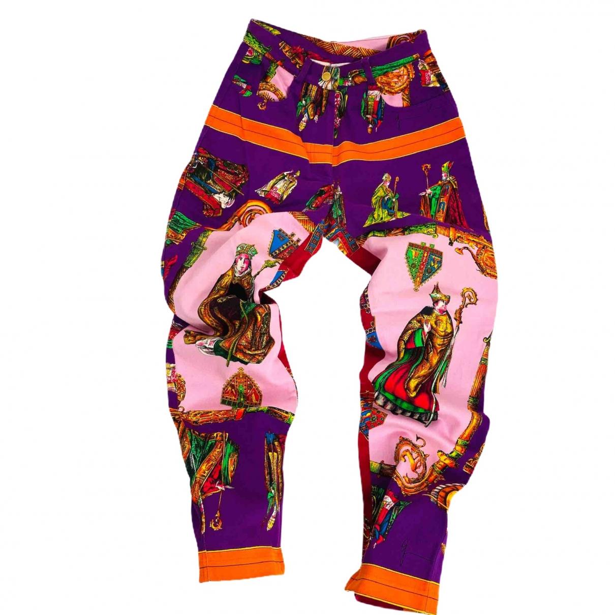 Gianni Versace \N Multicolour Cotton Trousers for Women 42 IT