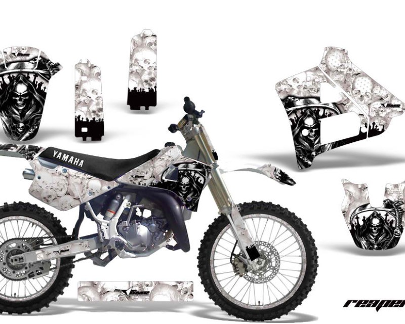 AMR Racing Graphics MX-NP-YAM-YZ125-YZ250-91-92-RP W Kit Decal Sticker Wrap + # Plates For Yamaha YZ125 YZ250 1991-1992áREAPER WHITE