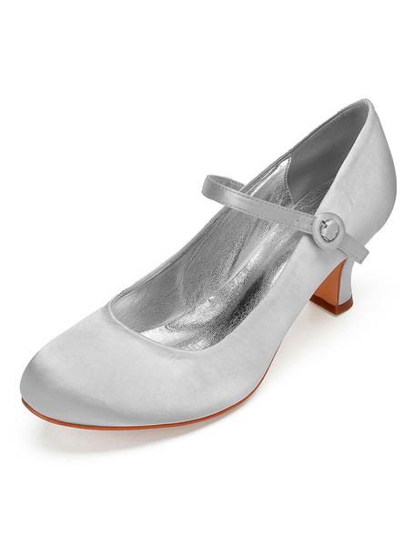 Milanoo Zapatos de novia de saten 6.5cm Zapatos de Fiesta Zapatos Color de uva de puntera redonda Zapatos de boda