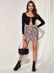 Mixed Animal Print Button Waist Skirt