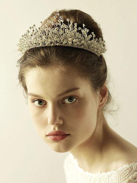 Milanoo Tocado  para mujer Fiesta de bodas de metal plateado Tiara