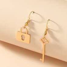 Key & Lock Charm Drop Earrings