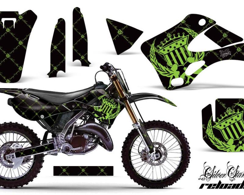 AMR Racing Graphics MX-NP-KAW-KX125-KX250-99-02-SSR G K Kit Decal Wrap + # Plates For Kawasaki KX125 | KX250 1999-2002áRELOADED GREEN BLACK