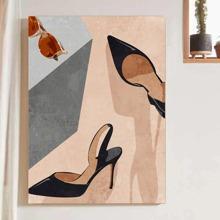 Pintura de pared con estampado de tacones altos sin marco