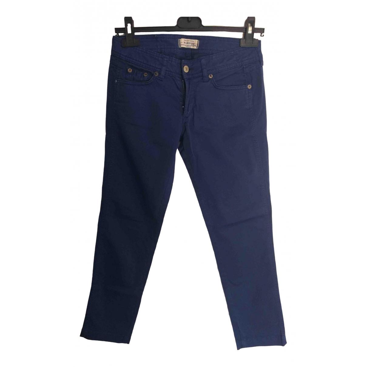 Pantalon en Algodon Azul Mauro Grifoni