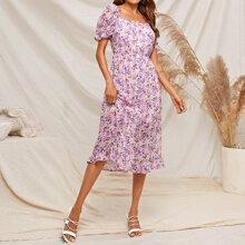 Allover Floral Print Gathered Waist Puff Sleeve Dress