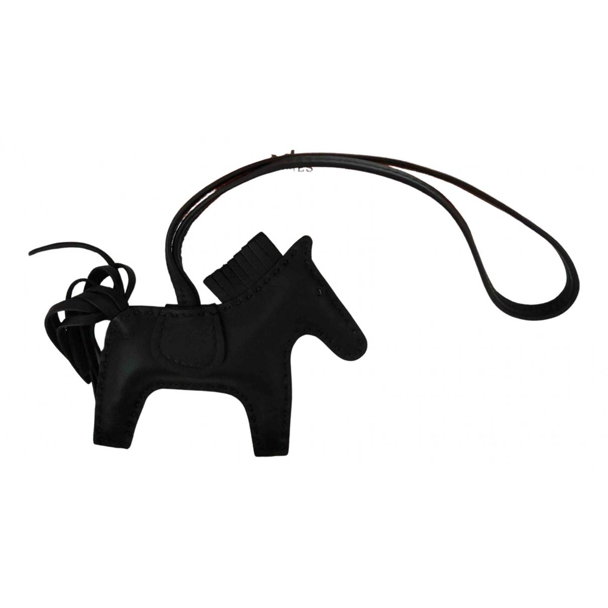 Hermes Rodeo Taschenschmuck in  Schwarz Leder
