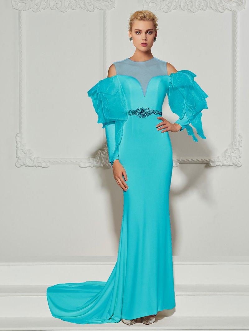 Ericdress Jewel Neckline Beaded Top Mermaid Evening Dress
