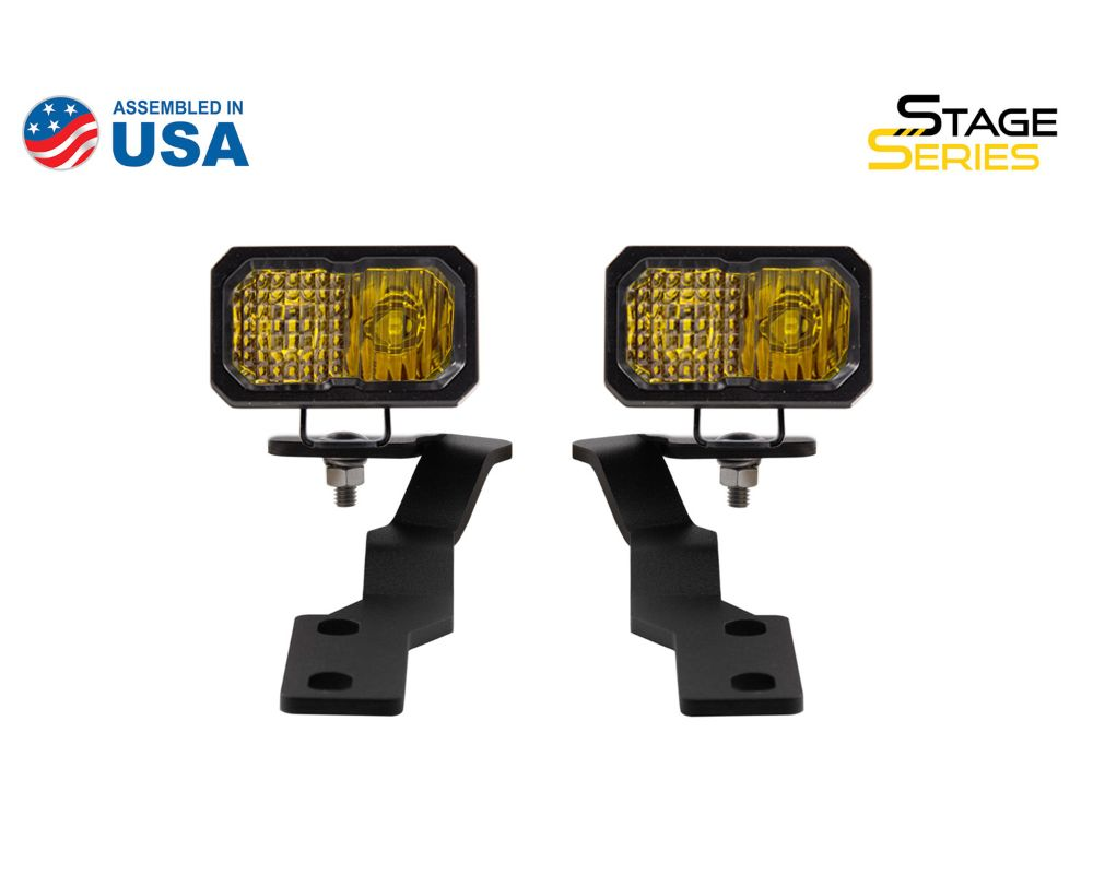 Diode Dynamics DD6379 Stage Series 2 Inch LED Ditch Light Kit for 2016-2020 Toyota Tacoma, Pro Yellow Combo