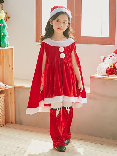 Milanoo Christmas Costume Kids Outfit Dresses Shorts Hat 3 Piece Set For Little Girls Halloween