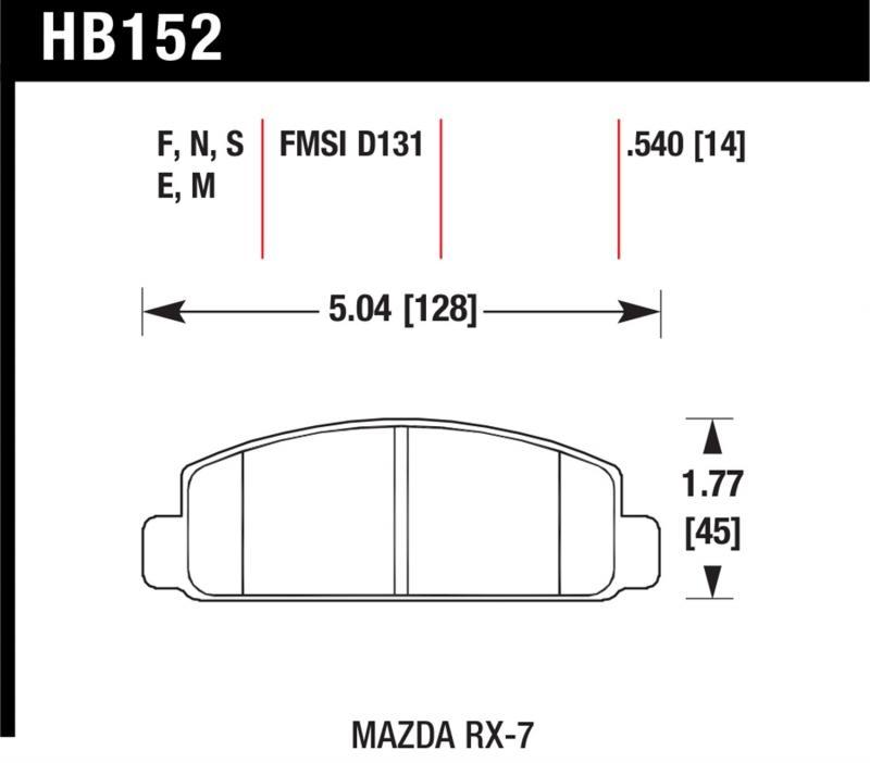 Hawk Performance HB152G.540 Disc Brake Pad Mazda RX-7 Front 1984-1991 1.3L 2-Cyl
