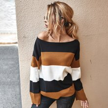 Pullover mit Ausschnitt und Naht Einsatz