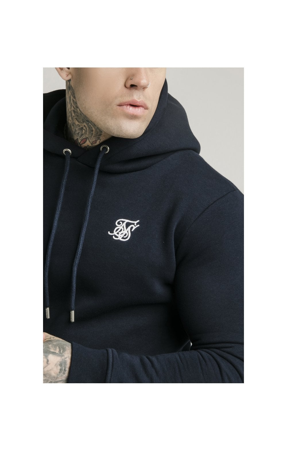 SikSilk Muscle Fit Overhead Hoodie - Navy MEN SIZES TOP: Extra Large