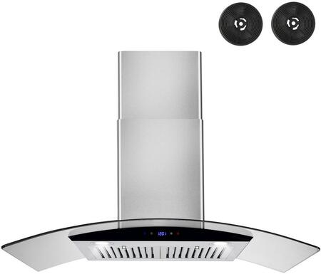 RH0448 36 Wall Mount Range Hood with 217 CFM  Baffle Filters  LED Lighting and Glass Canopy in Stainless