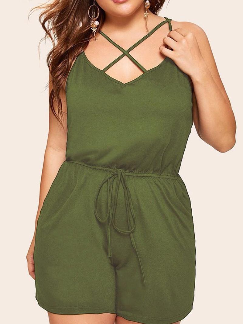 Ericdress Plain Lace-Up Fashion Loose High Waist Jumpsuit