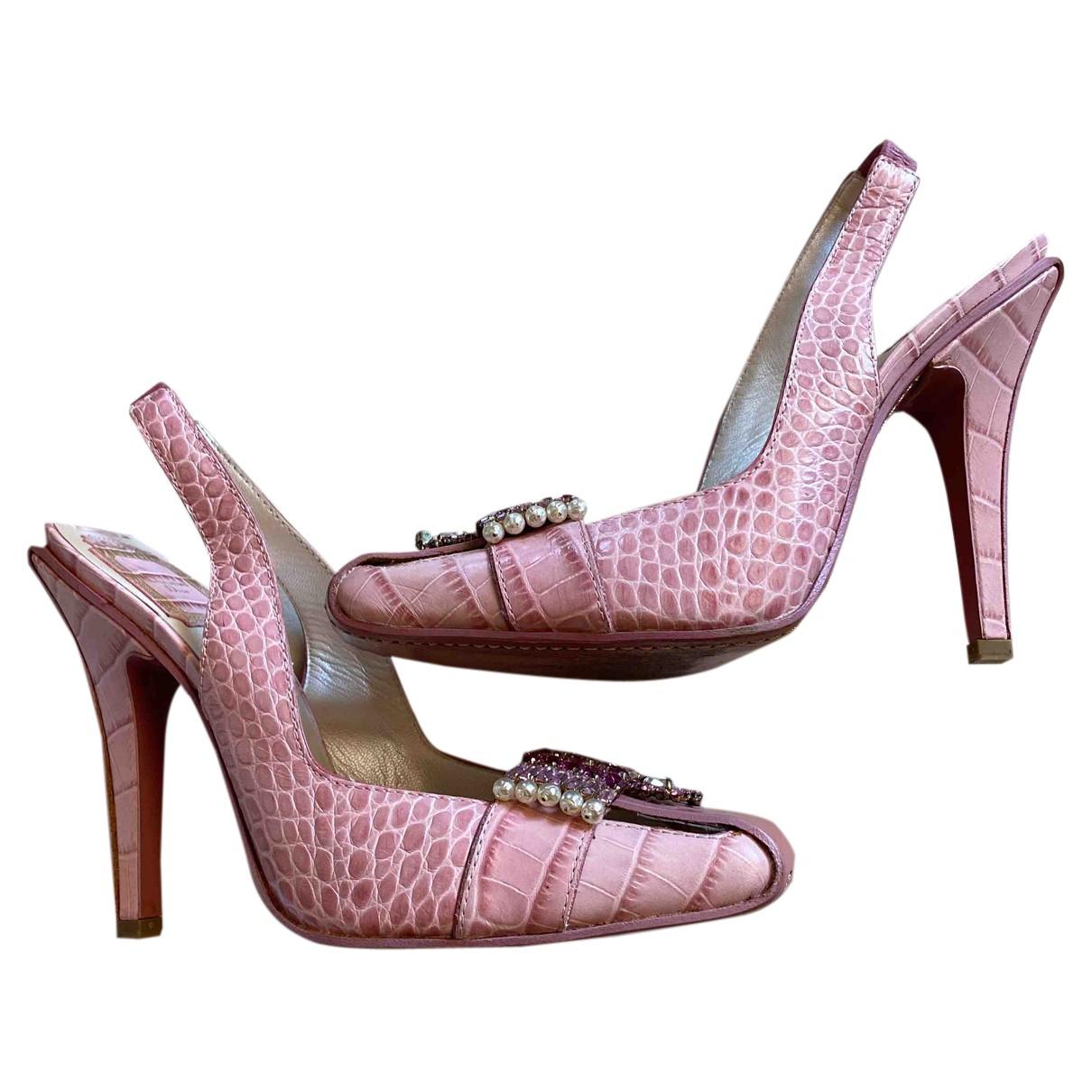 Dior N Pink Crocodile Heels for Women 38.5 IT
