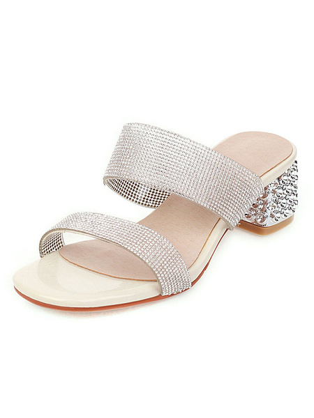 Milanoo Women\s Double Strap Slides Crystal Sandlas Beach Slippers Block Heel Sandal