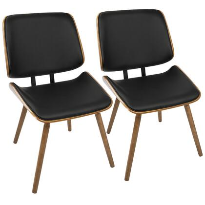 Lombardi Collection CH-LMBWL+BK2 Set of 2 Chair with Faux Leather Upholstery  Mid-Century Modern Style and Bentwood Seat Back in Walnut and Black