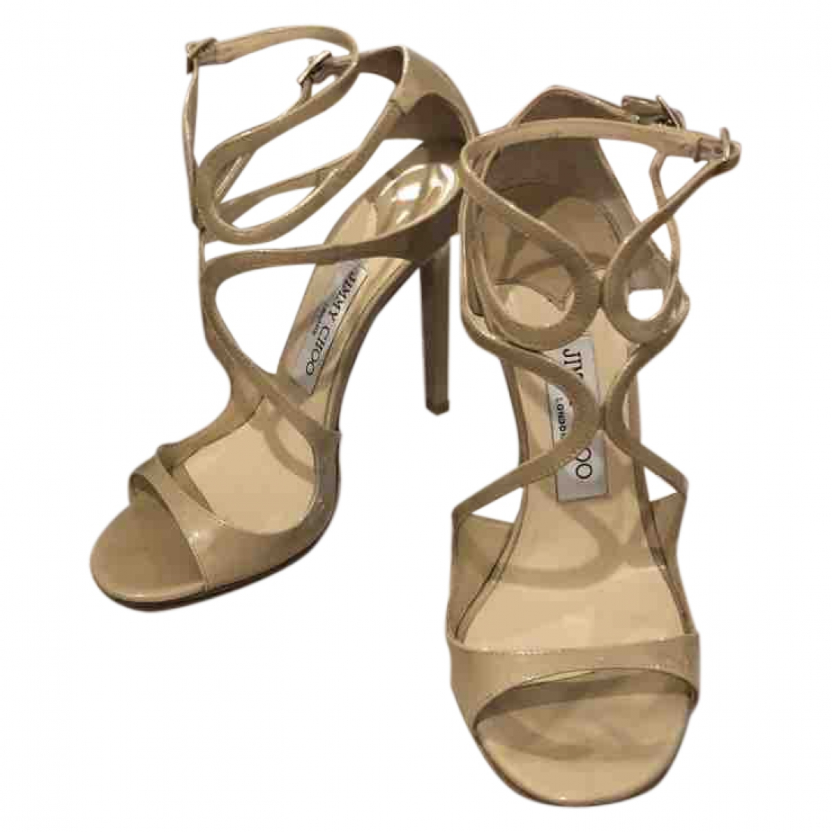 Jimmy Choo Lance Beige Leather Sandals for Women 37 EU