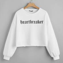 Plus Drop Shoulder Letter Graphic Pullover