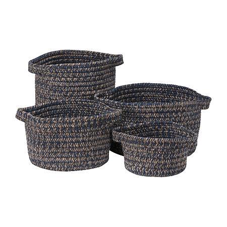 Colonial Mills Grafton Tweed Braided Basket, One Size , Blue