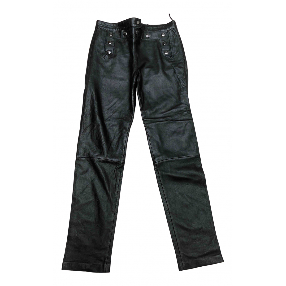 Mcq N Black Leather Trousers for Women M International