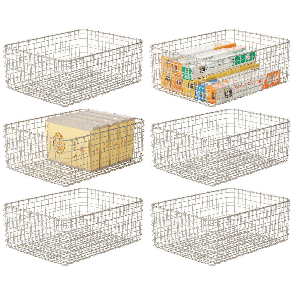 Metal Wire Kitchen Pantry Storage Organizer Bins in Satin, 16