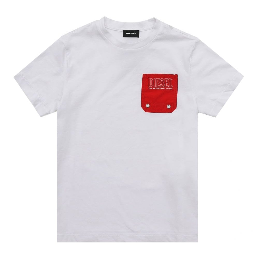 Diesel Cotton T-shirt Colour: WHITE, Size: 16 YEARS