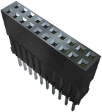 Samtec , ESQ, ESQ 2.54mm Pitch 10 Way 2 Row Vertical PCB Socket, Through Hole, Solder Termination (22)