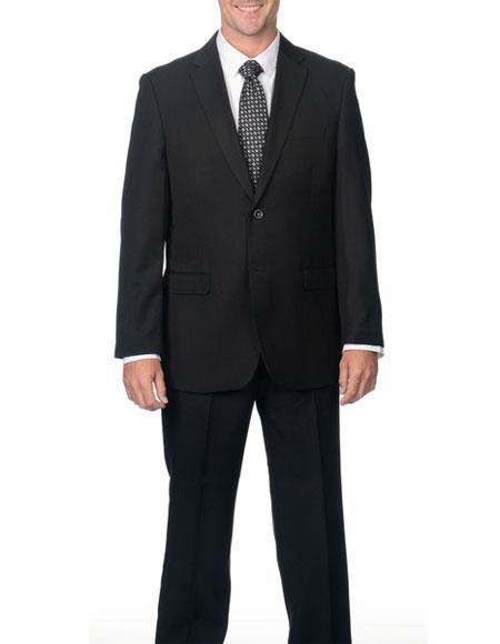 Caravelli Mens Classic Fit 2 Button Black Notch Lapel Double Vent Suit